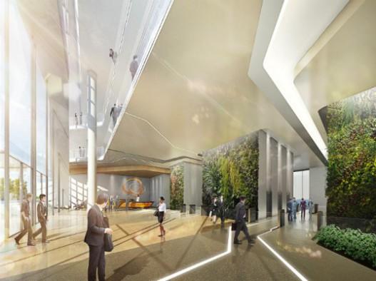 Обновленный фасад головного офиса компании Hanwha Group в Сеуле