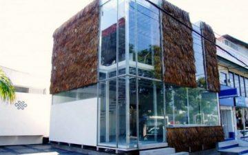 Частично «пушистый» стеклянный куб с соломенными крышами на фасаде