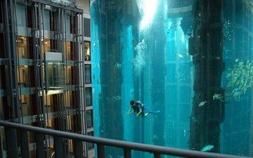 Отель Radisson Blu Hotel с 25-метровым аквариумом: дайвинг в центре Берлина