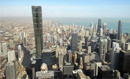Концептуальная башня Clean Tower будет очищать воду в реке Чикаго