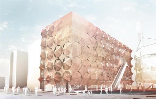 «Зонтичный» фасад для павильона Мадрид на выставке 2010 Shanghai Expo