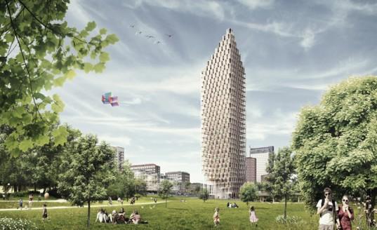 C.F. Møller представляет проект деревянного небоскреба на солнечных батареях для Стокгольма