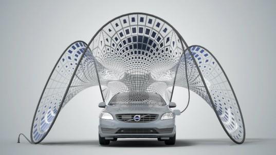 SDA представляет великолепный навес с солнечной зарядкой для гибрида Volvo V60