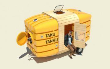 Taku-Tanku: новый портативный домик, который транспортируется с помощью велосипеда
