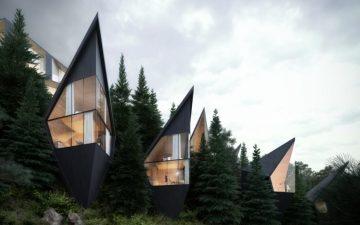 В итальянских Альпах появится серия ромбовидных домиков на деревьях