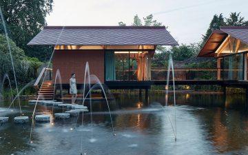 Новый дом на сваях для многодетной семьи в Беркшире