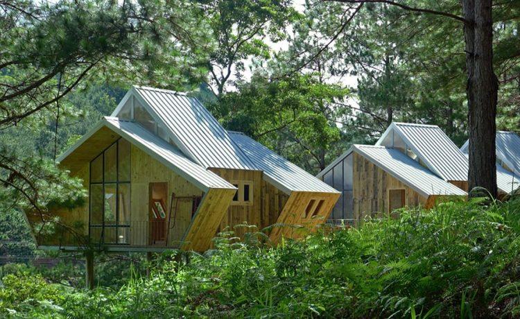Геометрический сосновый дом для горной местности Вьетнама