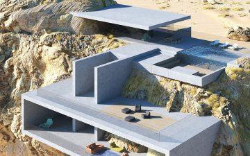 «Дом в скале» построен из бетонных плит