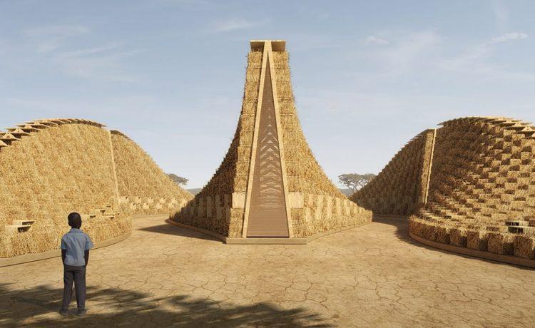 Концептуальная школа в Малави построена из дерева и тюков соломы