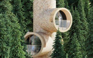 Этот модульный автономный домик на дереве напоминает известный мультперсонаж