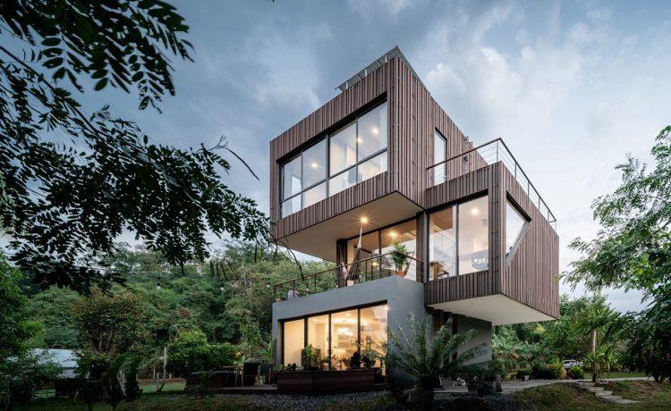 Резиденция на солнечной энергии в Таиланде имеет интересную форму с выступающими кубами