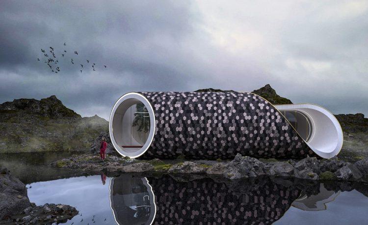 Футуристический дом в форме морской ракушки облицован восстановленным деревом