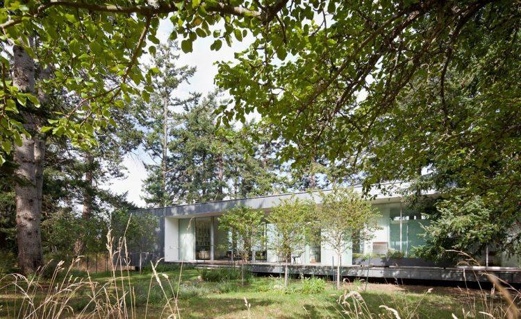 Летний дом для отдыха с солнечными батареями и «зеленой» крышей