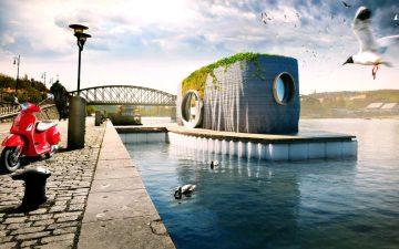 Стильный, асимметричный плавучий дом будет напечатан за 48 часов