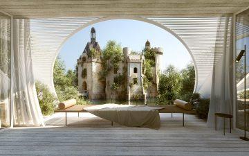 Дом на дереве «château-scope» с видом на французский замок