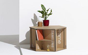 Модульная тумба, сделанная из коробок от телевизора