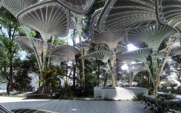 Навесы из искусственных пальмовых листьев защитят от палящего солнца в Абу-Даби