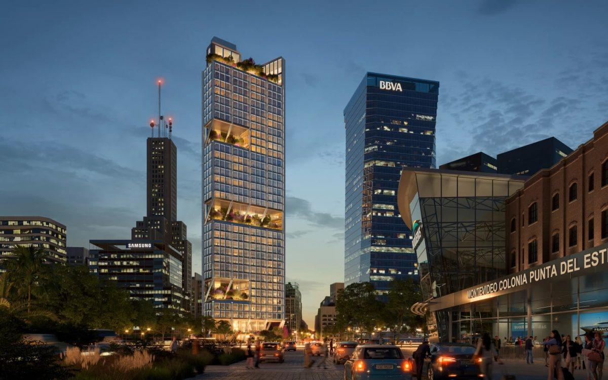 Foster + Partners строит треугольный небоскреб с зелеными террасами