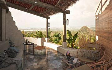 Эко-деревня в Индонезии: купольные дома из глины и с видом на океан