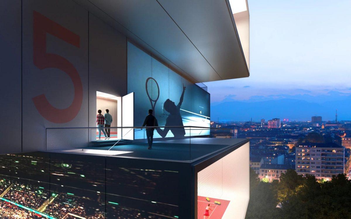 Концепция спортивного небоскреба: 8 теннисных кортов друг на друге