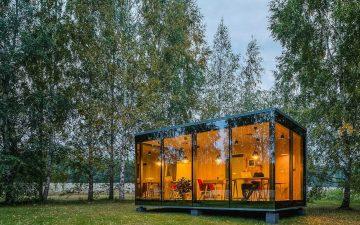Сборный стеклянный офис от ÖÖD: удаленная работа в окружении природы