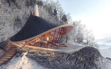 YEZO: необычный домик для отдыха на склоне холма в Японии