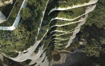 Новый жилой небоскреб с вертикальными садами в форме бабочки строится в Сингапуре