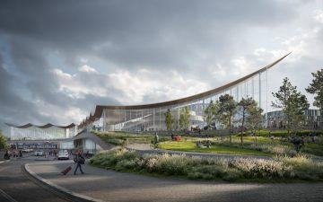 Энергоэффективный туристический центр с волнистой крышей появится в Швеции
